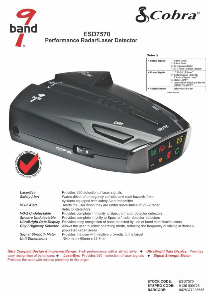 cobra esd 7570 review from official site