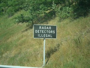 radar detectors illegal sign