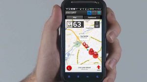 demo from inside escort live radar app on smartphone