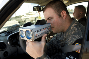 military soldier with laser gun