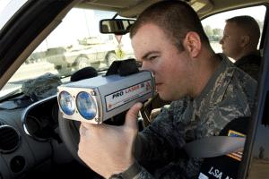 military soldier with laser gun