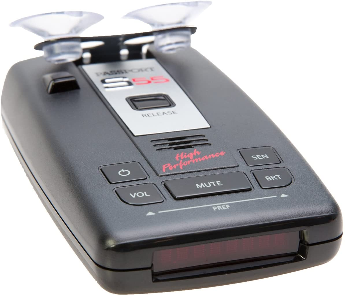 Escort Passport S55 facing sideways with suction cups