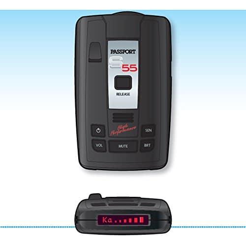 two Escort Passport S55 radar detectors showing top and front portions