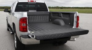 A photo of a truck's rear with a bed liner