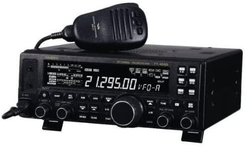 Yaesu FT-450D with mic slightly facing sideways
