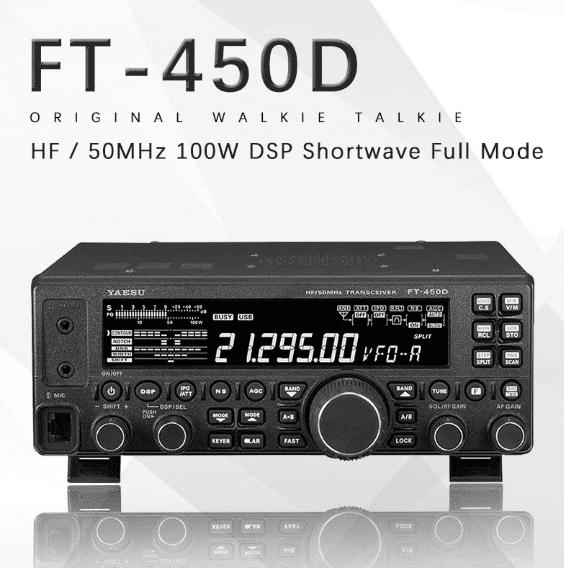 Yaesu FT-450D ham radio with reflection