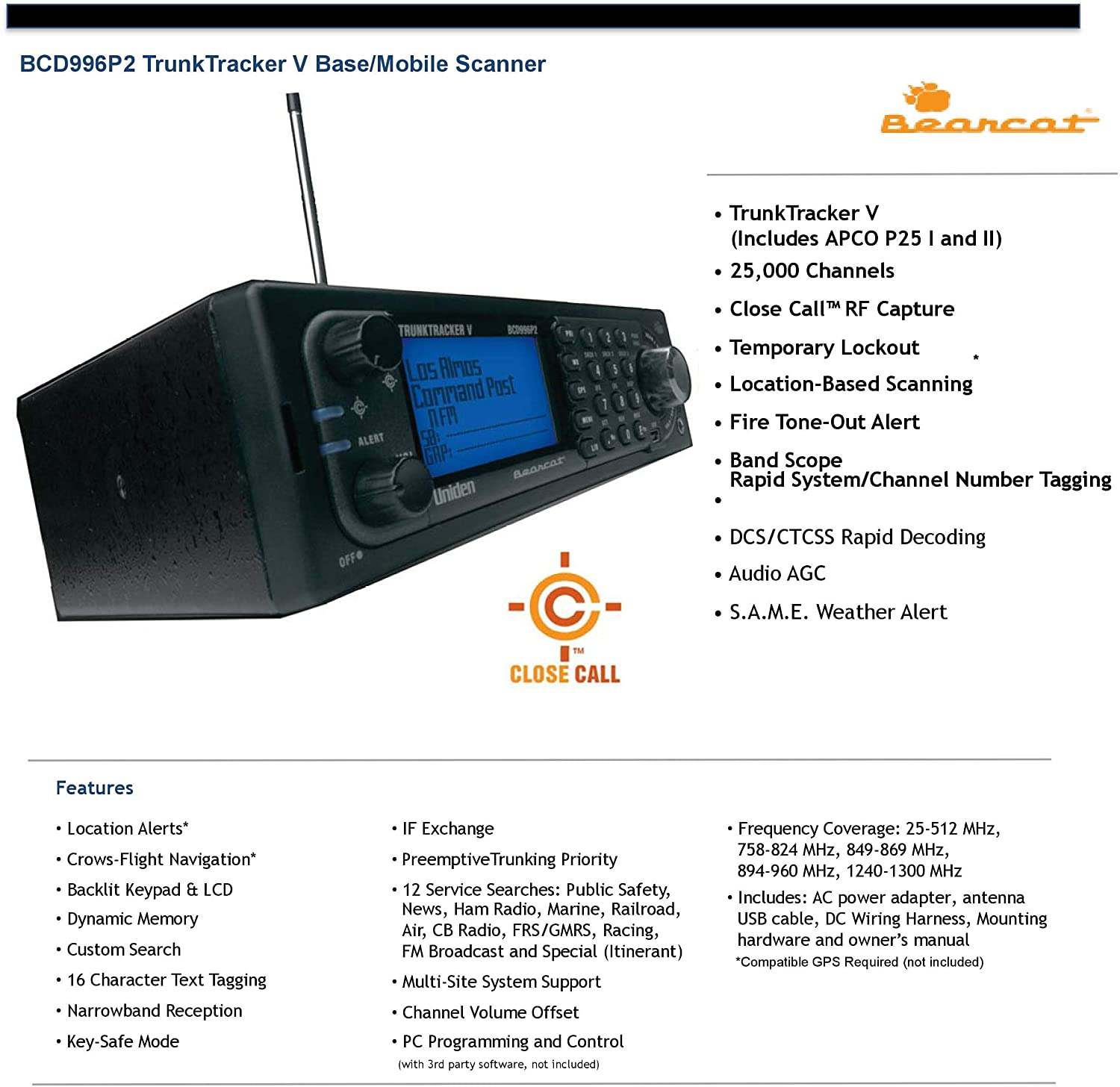 features of a Uniden BCD996P2 police scanner
