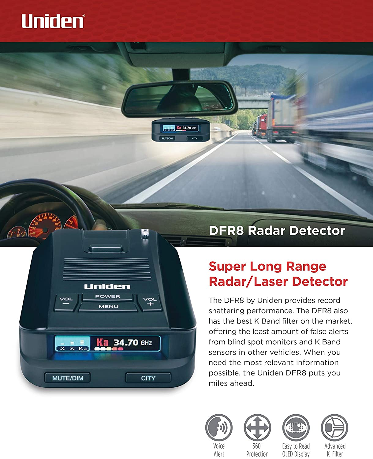 Uniden DFR8 used in a car and a text below the image detailing the radar detector's strengths