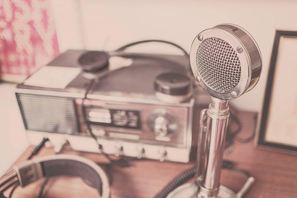radio and microphone set on a table