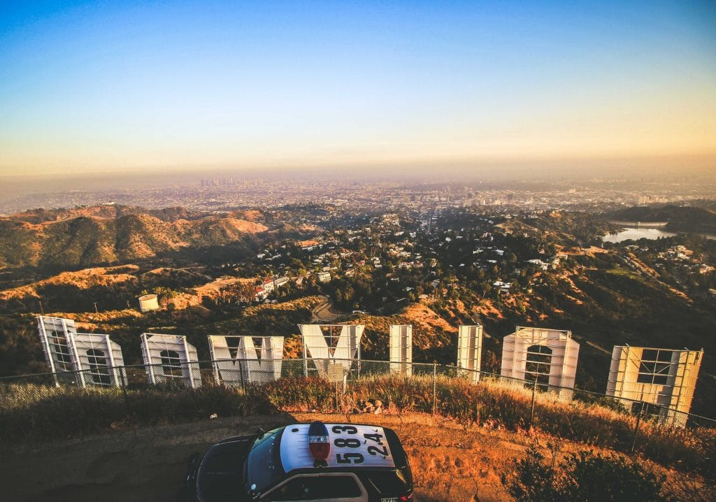 Cop car and Hollywood sign