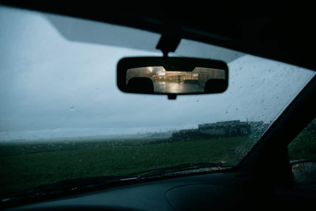 rearview mirror in the rain
