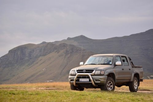 Toyota pickup with mountains on the background