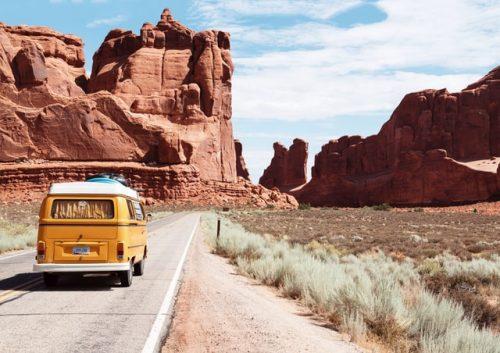 camper van driven on the road
