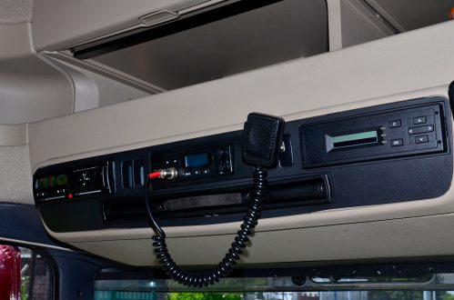 CB radio installed in a truck