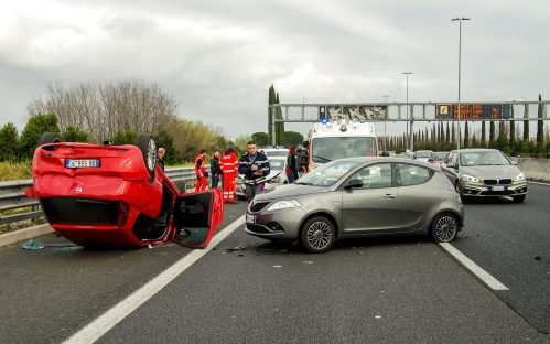 car accident in the middle of a highway