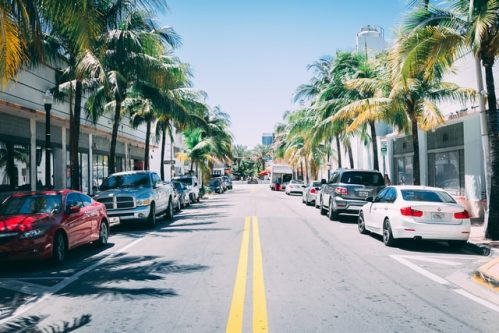 photo of cars lined up on both sides of the street in Miami