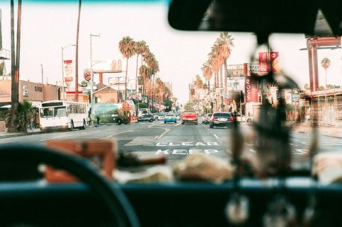 view of Los Angeles from inside a car