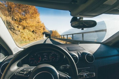 view of the landscape from the driver's seat